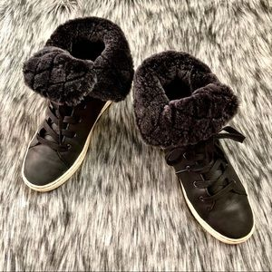 UGG⚡️Authentic Black Leather Sneakers Boots_7